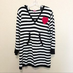 BETSEY JOHNSON Hooded Striped Heart Fleece